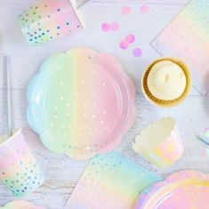 10 Iridescent Pastel Dessert Plate -Pack of 10