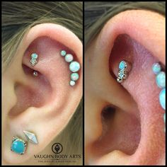 How cute is this rook piercing we got to do for Destinee?!She picked out an 18k white gold Sabrina end with a white opal from @anatometal. It is a perfect addition next to her healed helix piercing we did for her last year.Thanks so much, Destinee!@vaughnbodyartsMonterey, CA