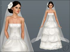 Bridal long veil and hair flowers for wedding, Sims 3 free download at BEO Creations - Sims 3 Finds