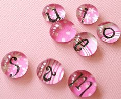 Personalized glass gem magnets by Hollie Lollie, via Flickr