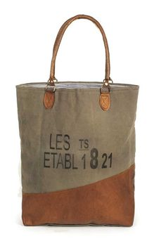 1821 Canvas Tote Bag Purse with Ticking lined