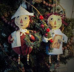Primitive Folk Art Handcrafted Christmas Raggedy Ann and Andy ornaments...