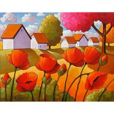 PAINTING ORIGINAL Folk Art Red Poppies Autumn Tree Colors White Cottages Abstract Modern Fall Landscape Artwork Cathy Horvath Buchanan 14x18. $199.00, via Etsy.