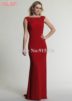 f56ef8387aaf 2015 Red Evening Dress Appliques Lace Scoop Sleeveless Floor Length Mermiad  Vestido De Festa Made In China Free Shipping AN60-in Evening Dresses from  ...