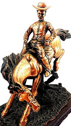 Cowboy Riding Horse Statue Sculpture by RobsVintageTreasures