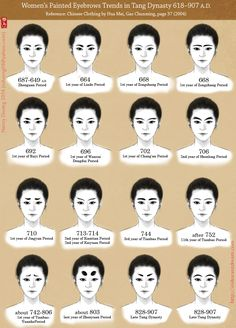 Painted Eyebrow Trends in Tang Dynasty by lilsuika.deviantart.com on @DeviantArt