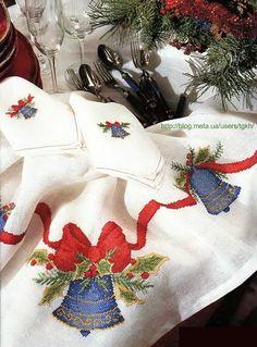 Cross Stitch Borders, Cross Stitching, Cross Stitch Embroidery, Embroidery Patterns, Cross Stitch Patterns, Christmas Table Cloth, Christmas Cross, Fabric Painting, Needlework