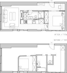 Apartment Tel Aviv 14 40 Square Meter Apartment in Tel Aviv Displaying an Original Layout Small Floor Plans, Small House Plans, House Floor Plans, The Plan, How To Plan, Tiny Spaces, Small Apartments, Plan Studio, Small Apartment Plans