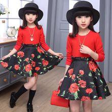 2016 New Dress Koreański Dzieci Dziewczyna Odzież Sukienka Moda Rose Drukowane Dark 5-13years Nastoletnie Dziewczyny Casual-Line Tutu