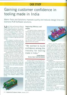 Matrix Tools and Solutions improves quality and reduces design time with Siemens PLM Software solutions. NX helps Matrix gain customer confidence in tooling made in India.  Matrix Tools Case Study published in Industrial Product Finder Magazine- January 2017 issue. #DesignTechSys