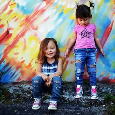 The Classic Rockaway- Distressed skinny jean for girl- Size 2T ; Torn denim; Ripped Baby Jean on Etsy, $35.00