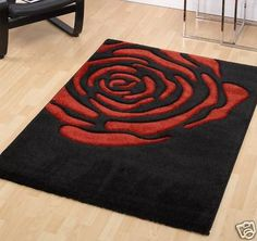 Modern Red Rose Design Medium Size Black Rug Sale Price | eBay