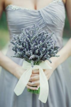gray dress with lavender flowers.