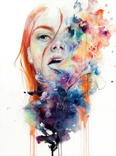Colourful acrylic and watercolour portraits by Agnes Cecile