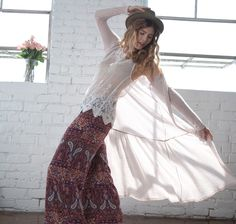 Wide Leg Paisley Pants with Duster Cardigan and Lace Cami