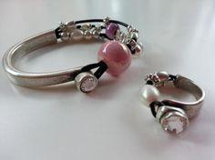 media pulsera strass con cerámica, perlas y zamak  zamak y cuero,ceramica,perlas zamak y cuero