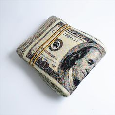 Folded Banknote Shape Pillow US dollar by chicsindesigndotcom, $65.00