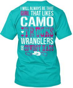 I'll Always Like Camo, Trucks, Wranglers and Cowboy Hats T-Shirt Small / Black, T-Shirts - Cute n' Country, Cute n' Country - 1 Cute Country Outfits, Country Wear, Country Girl Style, Cute N Country, Country Fashion, Country Shirts, My Style, Country Life, Camo Outfits