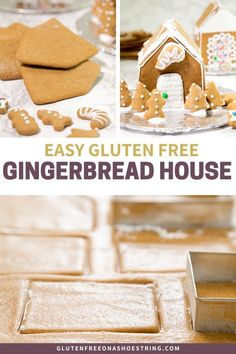 Easy Gluten Free Gingerbread House - Need a fun activity idea for your Christmas party? Skip the kits this year and make your own, easy, - Gluten Free Gingerbread, Gingerbread Cookies, Easy Gingerbread House, Gingerbread House Template, Gluten Free Cookies, Gluten Free Baking, Sin Gluten, Gluten Free Christmas Recipes, Holiday Recipes