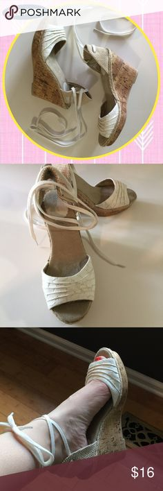 Lace up cream wedges sz 7 OLd Navy Lace up cork wedges by Old Navy Old Navy Shoes Wedges