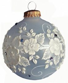 Hand painted ornament with Swarovski accents by Diane Bunker, designer.