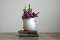 Vintage White Creamer by A Needle in the Hay on Etsy