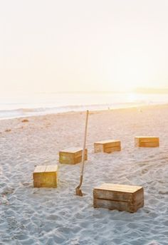 crates for beach wedding seating
