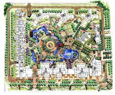 Residential in China Landscape Model, Landscape Design Plans, Landscape Concept, Landscape Drawings, Architecture Drawings, Urban Landscape, Architecture Details, Landscape Architecture, Architecture Plan