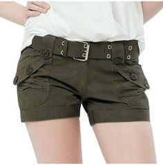 Green Denim Military Women's Shorts