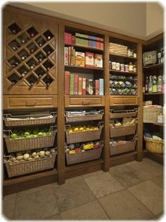 My dream pantry! My dream pantry! My dream pantry! Kitchen Pantry Storage, Kitchen Pantry Design, Kitchen Pantry Cabinets, New Kitchen, Wine Storage, Pantry Baskets, Food Storage, Storage Ideas, Pantry Room