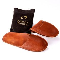 Cormia Men's Travel Slippers now. 100% leather, comfortable, have a moulding feature and fold up small.