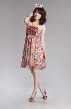Floral Print Halterneck Women's Chiffon Dress (LAKE BLUE,ONE SIZE), Women's Dresses - fashiondresswholesale.com