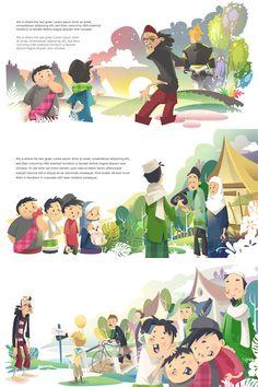 Folklore Storybook: Nicht Pitung von Hatefuel, via Behance - Kinder Book Design Layout, Book Cover Design, Children's Book Illustration, Character Illustration, Folklore, Book Design Inspiration, Web Design, Drawing For Kids, Children Drawing