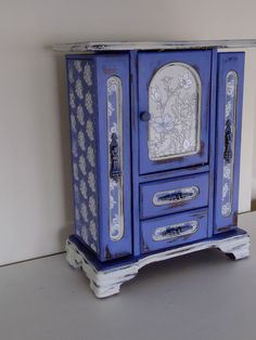 French Armoire Dresser Jewelry Box , Shabby Chic,Handpainted in Periwinkle Blue with French Papers. $60.00, via Etsy. 1:6th scale