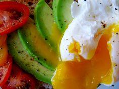 Poached egg, avocado, tomato on toast