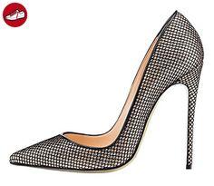 Nansay Damen Schuhe Große Größe High Heels,Einfarbig Spitz Schuh Pumps,Mesh Stiletto Sky High Frauen Schuhe Für Büro-Dame Party-Silber-EU39 (*Partner-Link)
