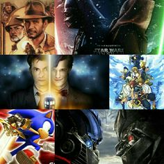 Repin if you see at least one of your fandoms. (Indiana Jones, Star Wars, Doctor Who, Kingdom Hearts, Sonic the Hedgehog, Transformers)
