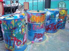 When-In-Manila-Converse-Block-Party-SM-Mall-of-Asia-shoes-dance-skateboard- Graffiti barrels would look cool at a hip hop party/mitzvah