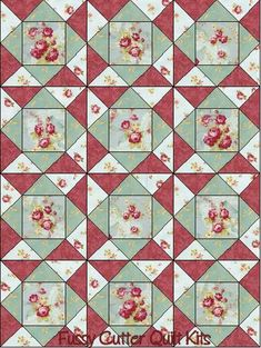 Red Rooster Sohpy's Roses Red Pink Blue Floral Shabby Chic Flowers Fabric Easy Pre-Cut Quilt Blocks Top Kit