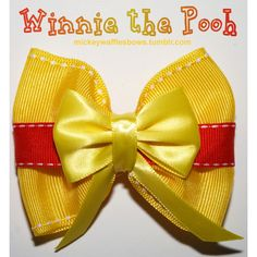 Winnie the Pooh Hair Bow (7.69 CAD) ❤ liked on Polyvore featuring accessories, hair accessories, bow hair accessories and ribbon hair bows