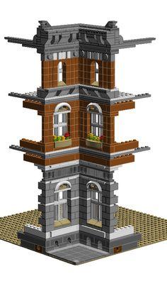 Modular Raco - Ajuntament - Lego Tricks and Techniques - Lego Modular, Modular Homes, Lego Design, Construction Lego, Construction Business, Construction Design, Lego Village, Lego Castle, Lego Storage