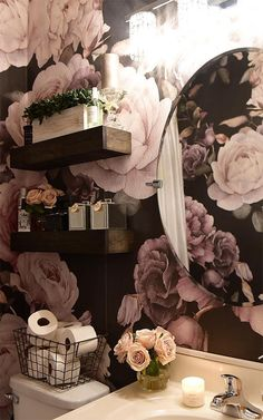This elegant purple & pink dark floral wall mural is a stylish flower design full of dramatic depth, a sophisticated piece. Wallpaper Harry Potter, Rose Illustration, Bohemian Furniture, Bathroom Interior Design, My New Room, Bathroom Inspiration, Wall Murals, Wall Art, Decoration