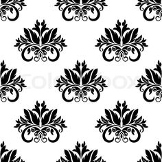 Stock vector of 'Floral damask seamless pattern background with ornamental flourishes'