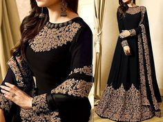 Indian Embroidered Black Chiffon Maxi Dress For more details and real pictures visit: PakStyle. Red Chiffon, Chiffon Maxi Dress, Pakistani Maxi Dresses, Luxury Clothing Brands, Stylish Dresses, Clothes For Women, Gown, Pdf, Wedding Ideas