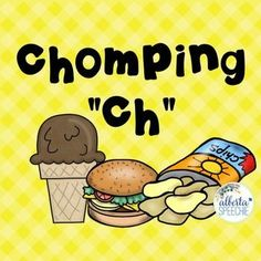 Freebie! Welcome to Chomping CH This craft and colouring sheet are great during a treatment session or to take home as homework. This works on ch in all word positions.To Make:Print activity off activity. For the glueing activity, you have two options. The quick way is to cut the food along the lines to make rectangles or the long way by cutting around the each item.To Use: For use in groups, give each child a plate and take turns picking food to glue onto their plate.