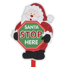 Christmas Scene Glittery Wooden Yard Signs Santa Stop Here ** Want to know more, click on the image.