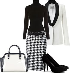 """houndstooth"" by mrsdanley ❤ liked on Polyvore"