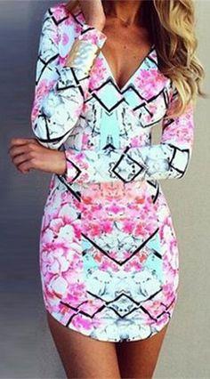 Print Bodycon Long Sleeve Dress
