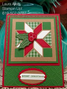I used the new Quilted Christmas Suite from Stampin Up! The Christmas Quilt stamp set, Quilt Builder Framelits, and, Quilted Christmas DSP. The sentiment is from the Stampin Up Teeny Tiny Wishes stamp set. The Quilt Top Textured Impressions embossing folder is from Stampin Up.