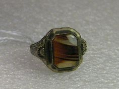 Vintage Ring, 10kt Sterling early 1900s Ostby & Barton Montana Agate Ring, sz. 5.25
